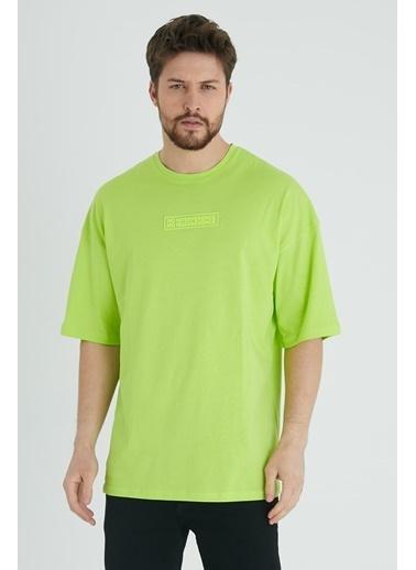 XHAN Sarı Baskılı Oversize T-Shirt 1Kxe1-44677-10 Sarı
